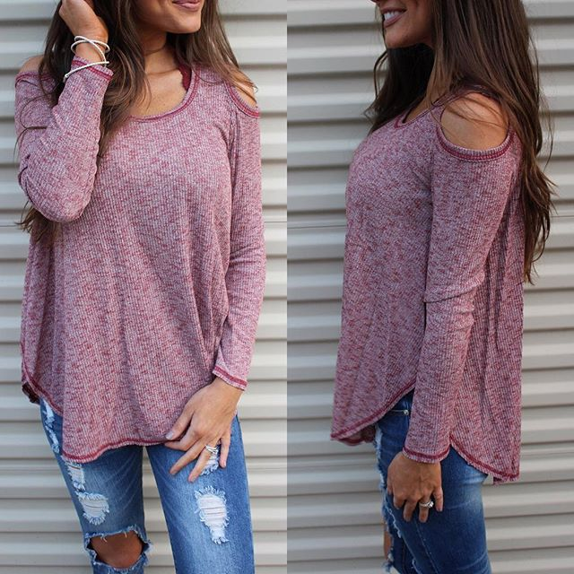 Burgundy Cold Shoulder Top restocked! $34.50 •• shop latest restocks under new arrivals! Happy Friday!!