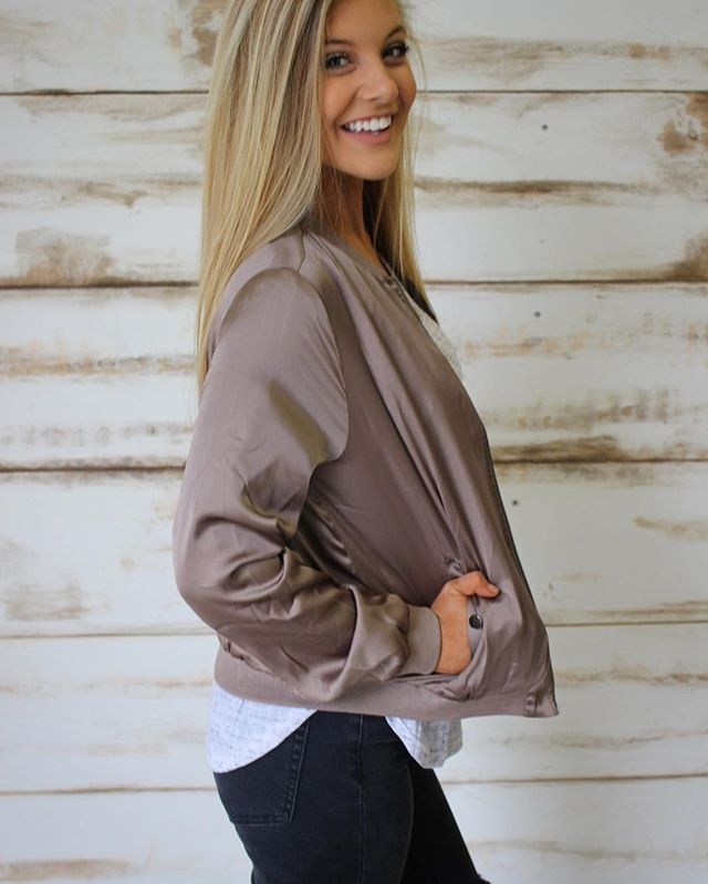 NEW! Bomber Jacket is also available in mocha! Shop under new arrivals •• ThirtyOneBoutique.com
