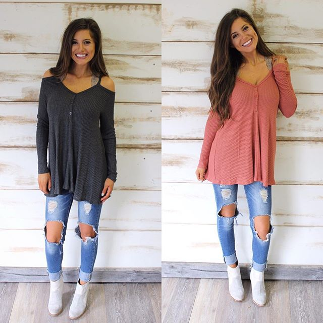 NEW! Cold shoulder Waffle tops in charcoal & rust! $39 & free shipping! Shop under new arrivals #newarrivals