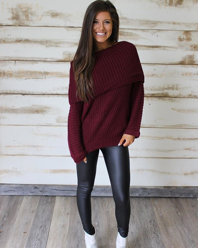 NEW! Our Jolie Sweater has been added in Burgundy!! Paired with our leather leggings $26 •• perfect outfit for the holidays! Shop under new arrivals!