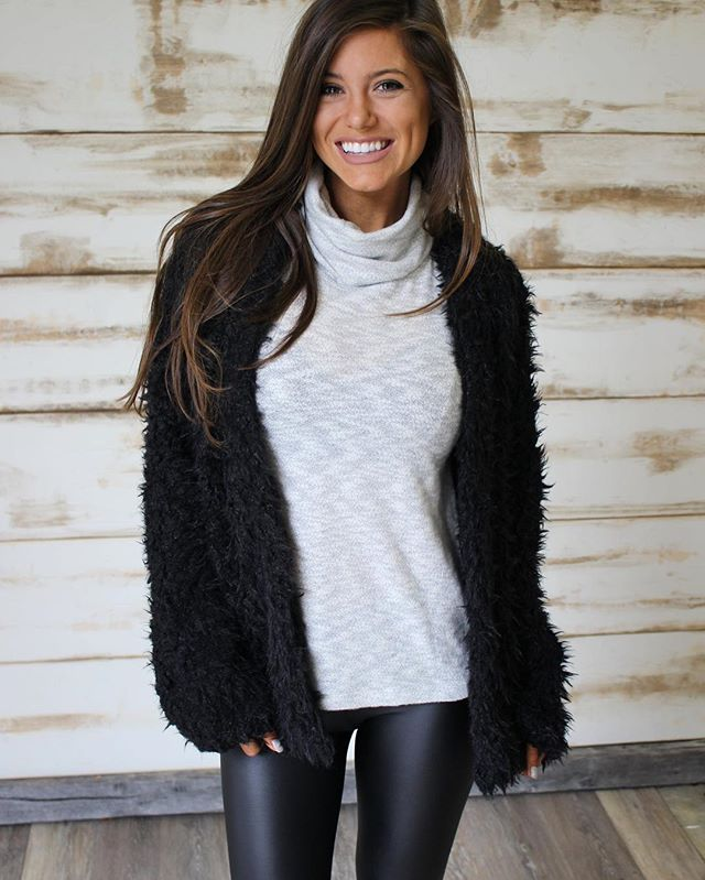 Today's new arrivals have been added!! Shop under new arrivals tab •• Black Faux Fur Jacket $42 & free shipping • paired with new Ivory Sleeveless Turtleneck & leather leggings $26