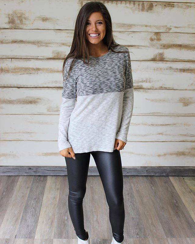 NEW! Two Toned Block Sweater $34 & free shipping! Shop under new arrivals •• Happy Sunday!