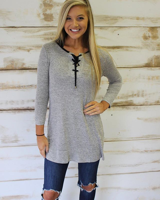 New arrivals are almost live!! •• love this cute little lace Up top for only $29 & free shipping! •• shop new arrivals @ 5pm central!!