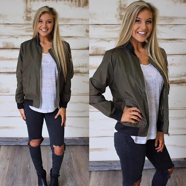 NEW! Karson Olive & Black Bomber Jacket $40 & free shipping! •• new arrivals go live @ 5pm central!! SIZES: M-XL •• wearing a medium here which fits like a small