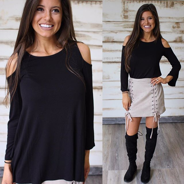 Black Long Sleeve Cold Shoulder Top $30 •• paired with our new Suede Lace Up mini •• shop under new arrivals! ThirtyOneBoutique.com