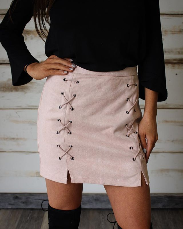 NEW! Blush Cross Lace Up Skirt •• going live @ 5pm central with today's new arrivals!  #newarrivals
