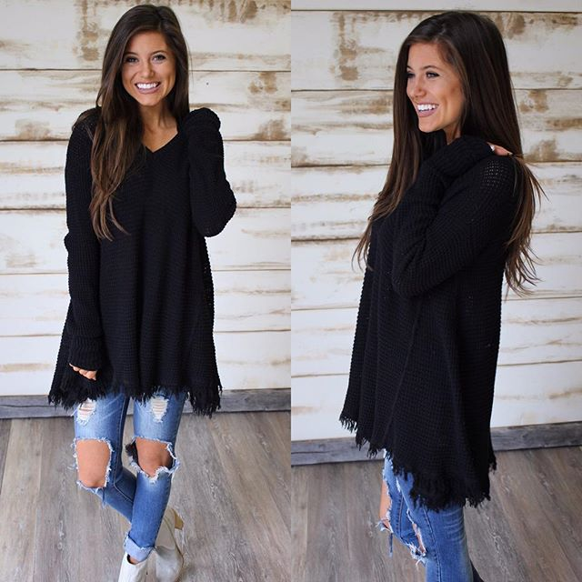 "NEW! Crochet Sweater in Black $48 & free shipping •• shop under ""new arrivals"""