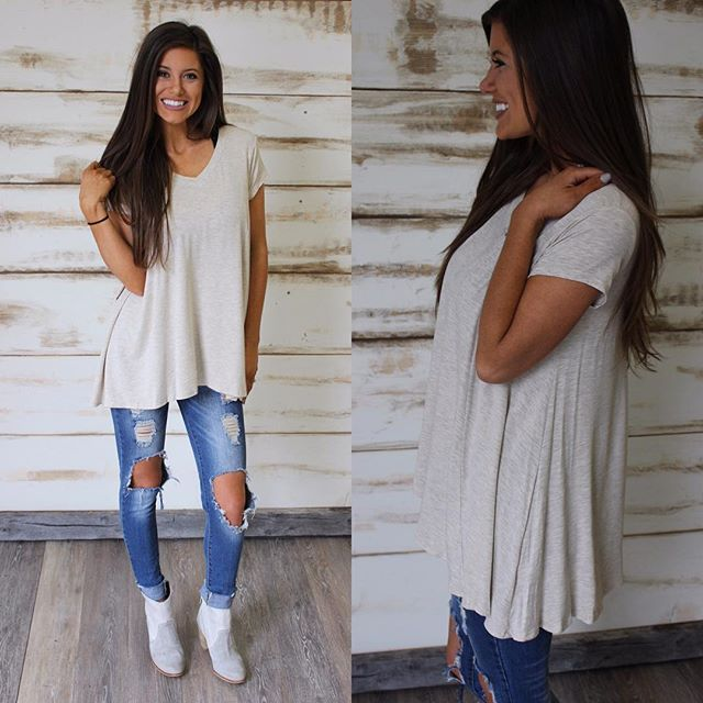 "NEW! {Basic V-neck Top in Taupe $25 & free shipping} shop under ""new arrivals"" #thirtyonebtq"