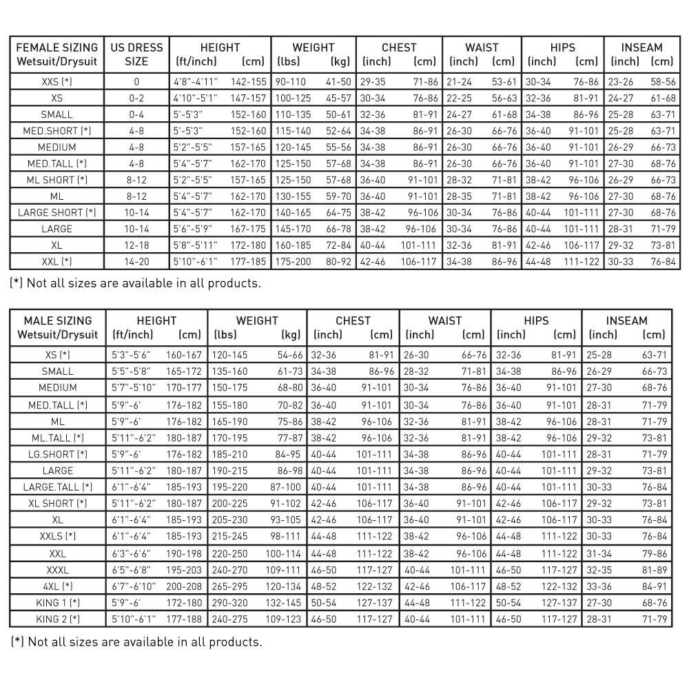 f39b7c5c1 Size Charts — Pinnacle