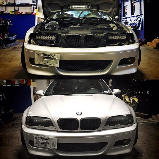 What do you do when the xenon ballast and ignitor take a dump on your E46 M3 track car? LED light bar retrofit. 0-22,000 combined lumens, controlled via pulse width modulation dimmer. #xenonisdead. *************************************************@blackoakled #ledlights #ledlightbar #bmw #bmwmotorsport #e46m3 #cars #carsofinstagram #dailyracecar #m3 #bcracing @irpgermany #hrewheels