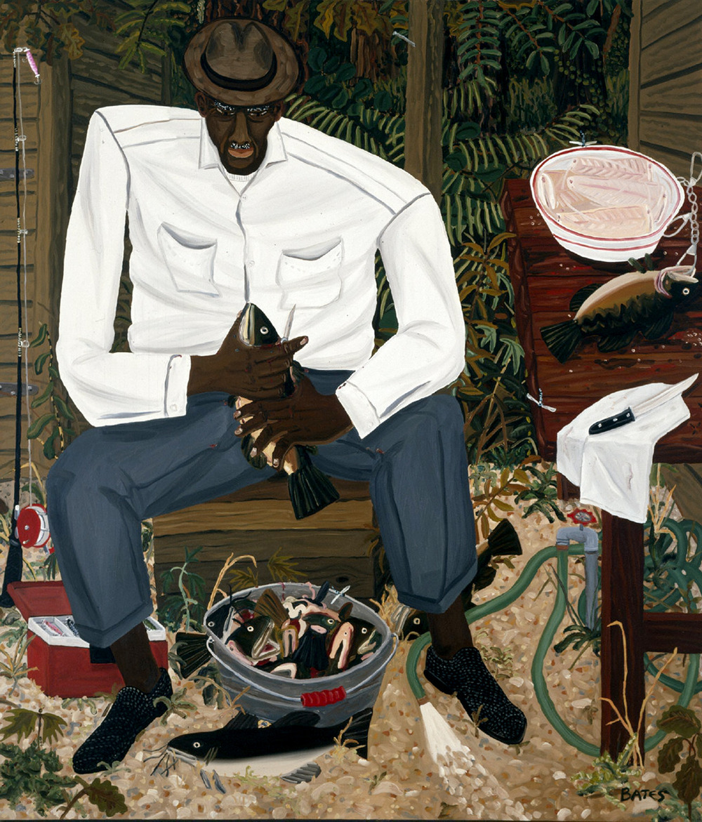 kafkasapartment :      Ed Walker Cleaning Fish , 1982. David Bates. Oil on canvas        Ed Walker Cleaning Fish , 1982. David Bates.