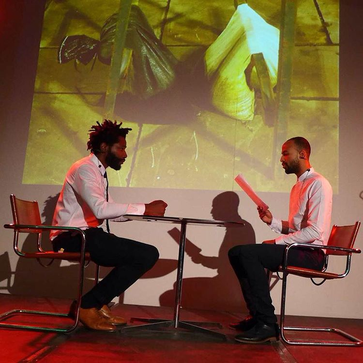 My S.OU.L (@nathanivesmoiba) and I. Another shot from my performative reading at #dataanddesire - a mash up of two recent texts that look at #dreams , #emotion , #instinct and #identity through user experience and virtual reality. One of the texts (entitled The Nod) is published this month in #freemansjournal (by @freemanreads published by @atlanticbooks) prequel appeared in 'Science and Fiction' edited by Rut Blees Luxemburg. #Londondust a new original series of images by Rut Blees Luxemburg were created for the performance. #vr #theatre #playwright #shortstory #userexperience #thenod #hexcodes #faqs #SOUL #Sciencefiction #scifi #litmag #londonliteraturefestival #londonlitfest #shortfiction #virtualreality #ux #algorithms #performanceart #thenod #data #rutbleesluxemburg #londonart #londonartist #southbankcentre  (at Southbank Centre)