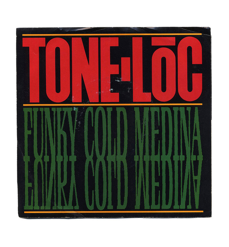 design-is-fine :     Richard Louderback, cover artwork for Funky Cold Medina by Tone Lōc, 1989. Delicious Vinyl Records/USA . Via Bart Solenthaler /  flickr.