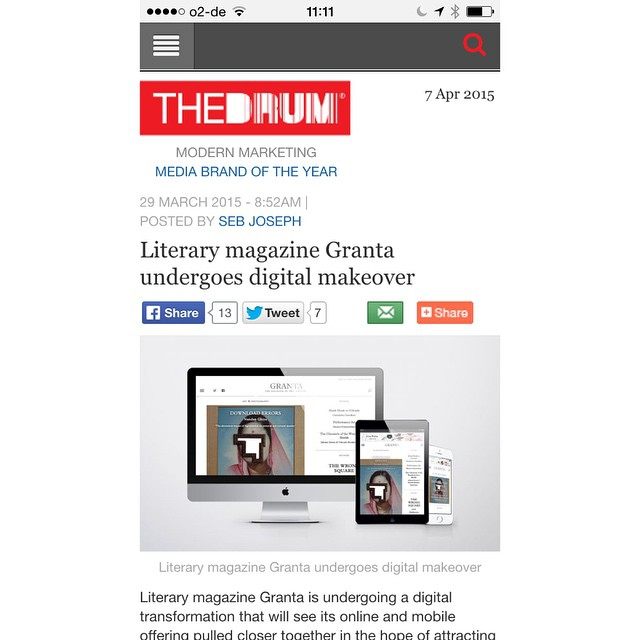 Pleased to see our redesign of Granta.com receive some coverage in The Drum. #webdesign #uxdesign #uidesign #magazinedesign #publishing #photography #art #mobiledesign #artdirection #creativedirection #granta #literature #booklovers #writing #shortstory #magazine #typography #saluspace #thedrum #media #design (at Berlin, Germany)