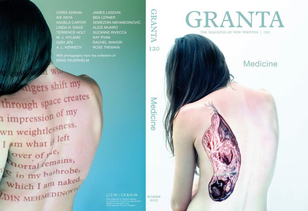 Available without prescription next month, Granta 120: Medicine. A high concept issue with every story illustrated, by talented folk like  Simon Fowler ,  Kanitta Meechubot ,  Rachel Sim ,  Mónica Naranjo Uribe  and many more. Also look out for an inaugural silent study of vernacular photography from the enigmatic collection of Brad Feuerhelm.     Cover photography with  Nadegé Meriau .