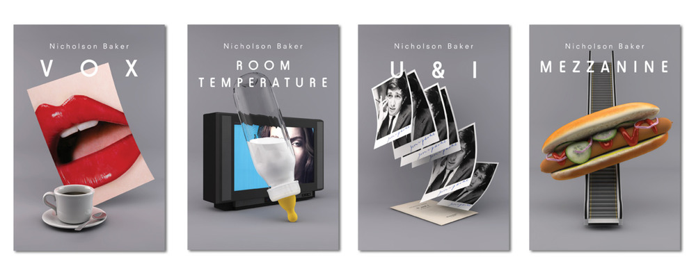 To kick things off, we break new ground with a sneak preview of Village Green Studio's redesign of our Nicholson Baker titles. Pure CGI, pure simulacra, pure poetry.