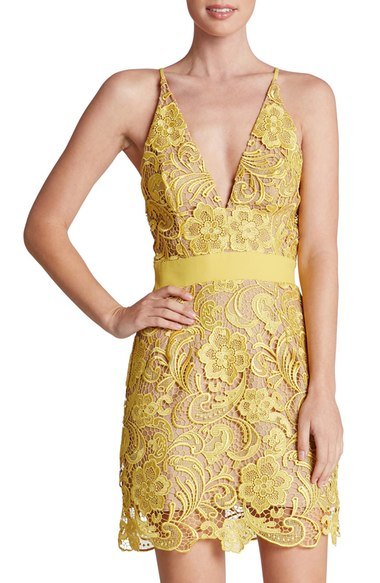 Lace sheath dresses are one of the hottest dress choices this year.  Go for a short dress with lace for a pretty girly look.  I love this dress selected in a yellow buttercream color.  I am also a huge fan of nude dresses for a classic appeal.