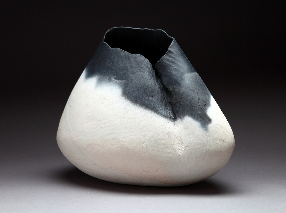 "Creased vessel ,   2015    13"" x 15"" x 7""  saggar fired clay"