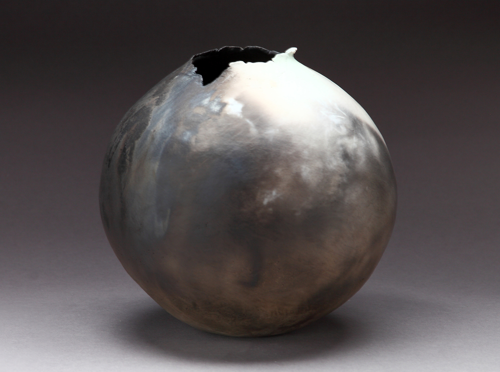 "Torn Vessel,  2015   8"" x 8"" x 8""    pit fired clay"