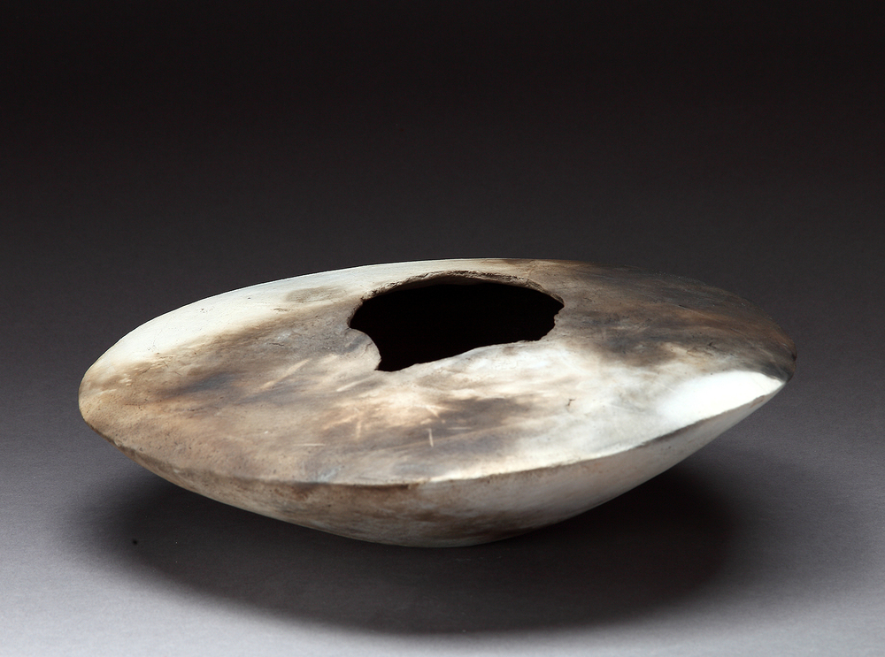 "Small Hueco , 2014   5"" x 11"" x 12""   pit fired clay"