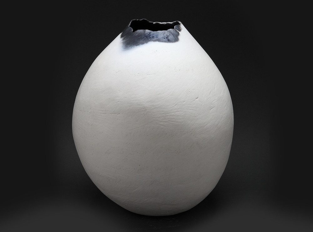 "White Bulb , 2014     20"" x 16"" x 16""     saggar fired clay"
