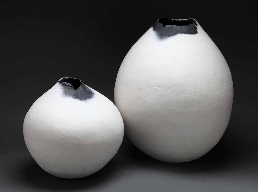"Small and Large Bulbs , 2014     12"" x 10"" x 10""   20"" x 16"" x 16""    saggar fired clay"