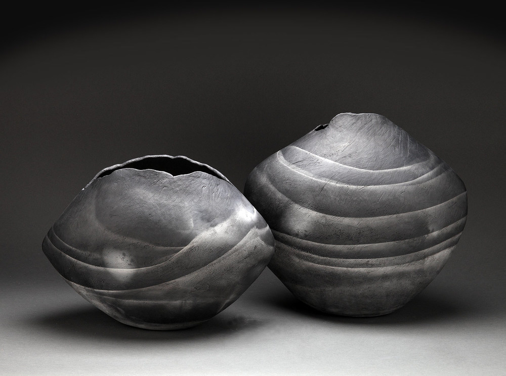 "Ribbon Vessels , pair, 2014     11"" x 16"" x 9""   15"" x 16"" x 8.5""    saggar fired clay"