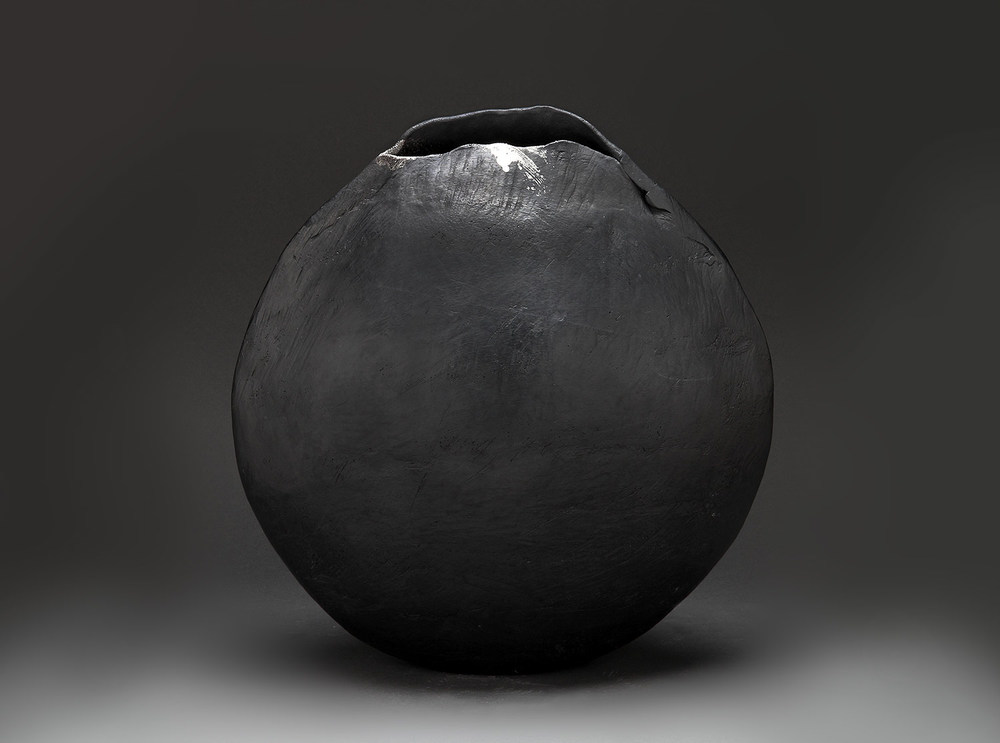 "Black Scallop with Silver , 2014     14.5"" x 14"" x 7.5""     saggar fired clay"