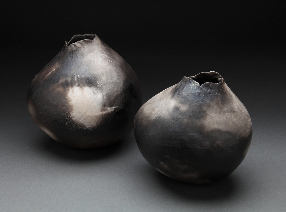 "Small Vessels , 2014     9"" x 8"" x 7""     8"" x 8"" x 7""     pit fired clay"