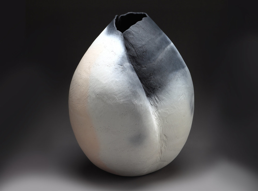 "Dana , 2014    20"" x 15"" x 16""     saggar fired clay"