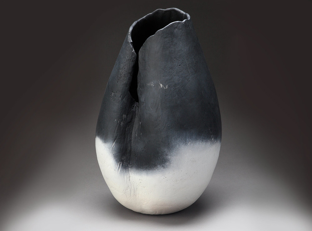 "Small Creased Vessel , 2013    12"" x 11"" x 11""     saggar fired clay"