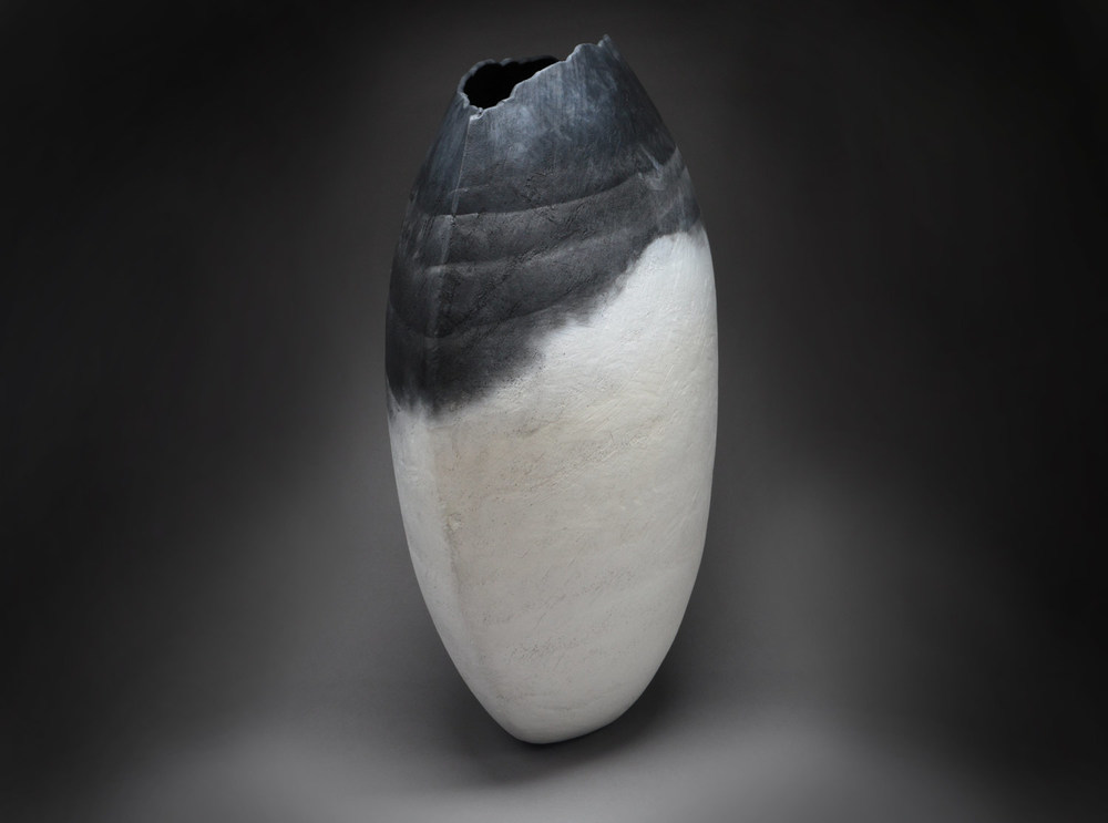 "Oval Form , 2013     24"" x20"" x 12""     saggar fired clay"