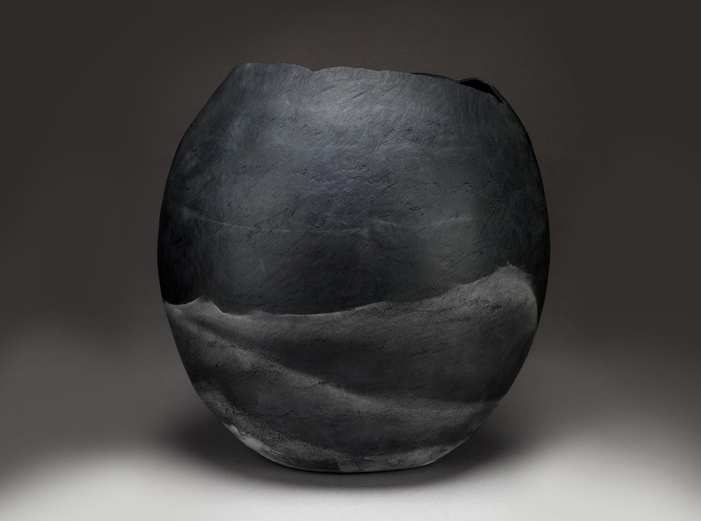 "Graphite Vessel , 2015     16.5"" x 16"" x 9""     saggar fired clay"