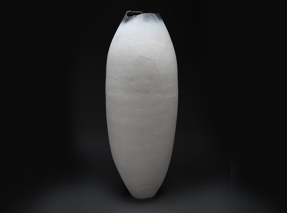 "White Cocoon , 2014     26"" x 10"" x 10""     saggar fired clay     $1,800"
