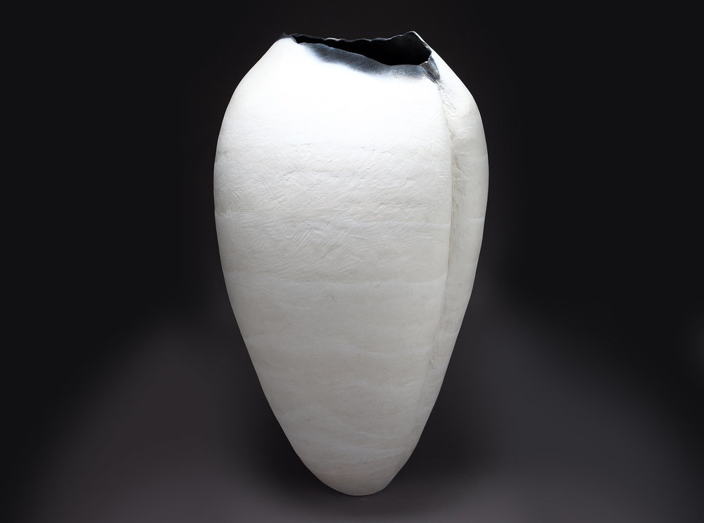 "White Form After Darkling Beetle , 2009     34"" x 19"" x 14""     saggar fired clay     $12,000"