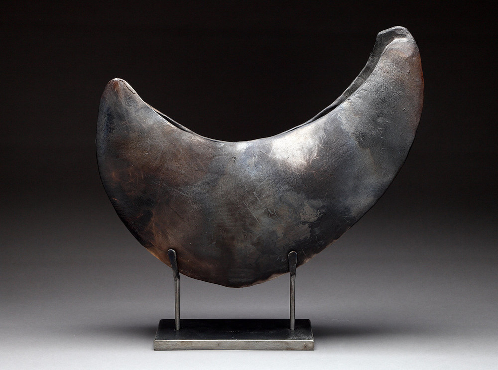 "Camelthorn Vessel , 2010     15"" x 15"" x 6""     pit fired clay     $2,200"