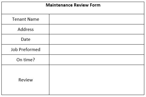 """Simply right click the maintenance review form and choose """"Save As"""" to download a printable version."""
