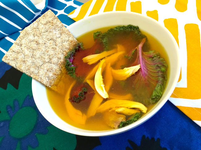 Low Carb Turmeric Broth with Chicken & Kale Recipe