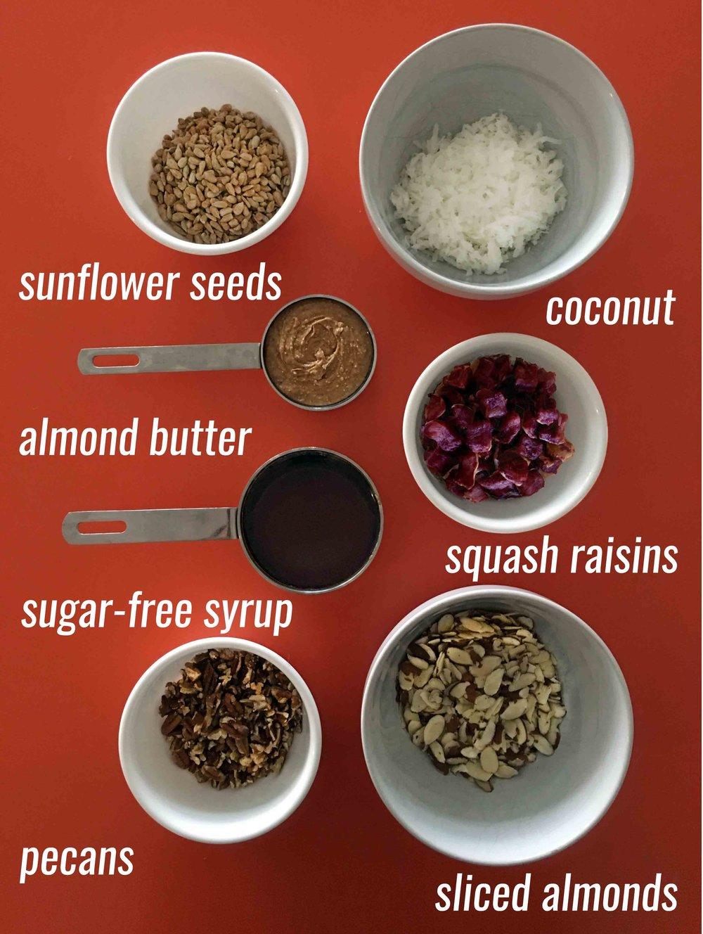 Low Carb Keto Grain Free GORP Bar Recipe Ingredients