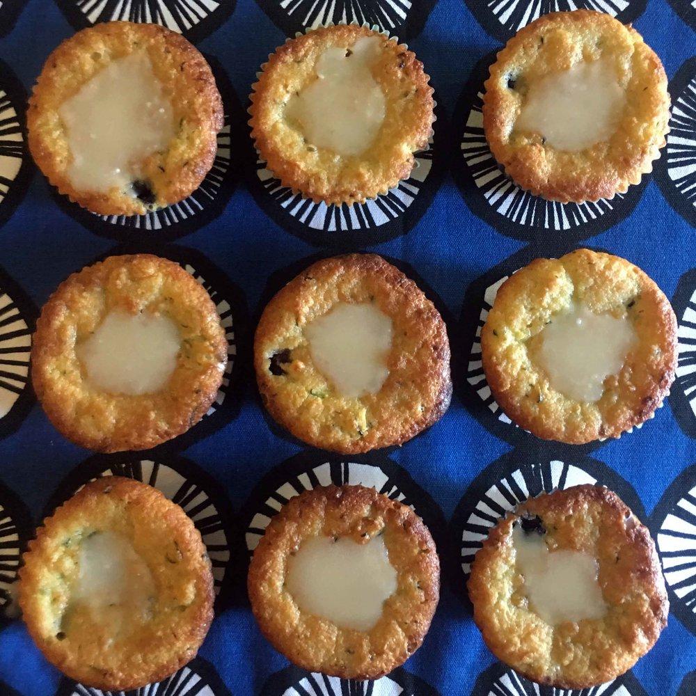 Low Carb Zucchini Blueberry Muffins with Lemon Glaze Recipe