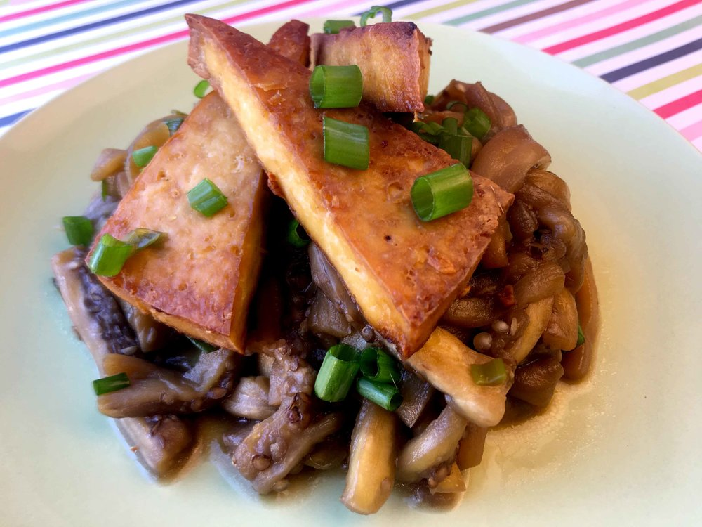 Low Carb Asian Tofu with Eggplant Noodles Recipe