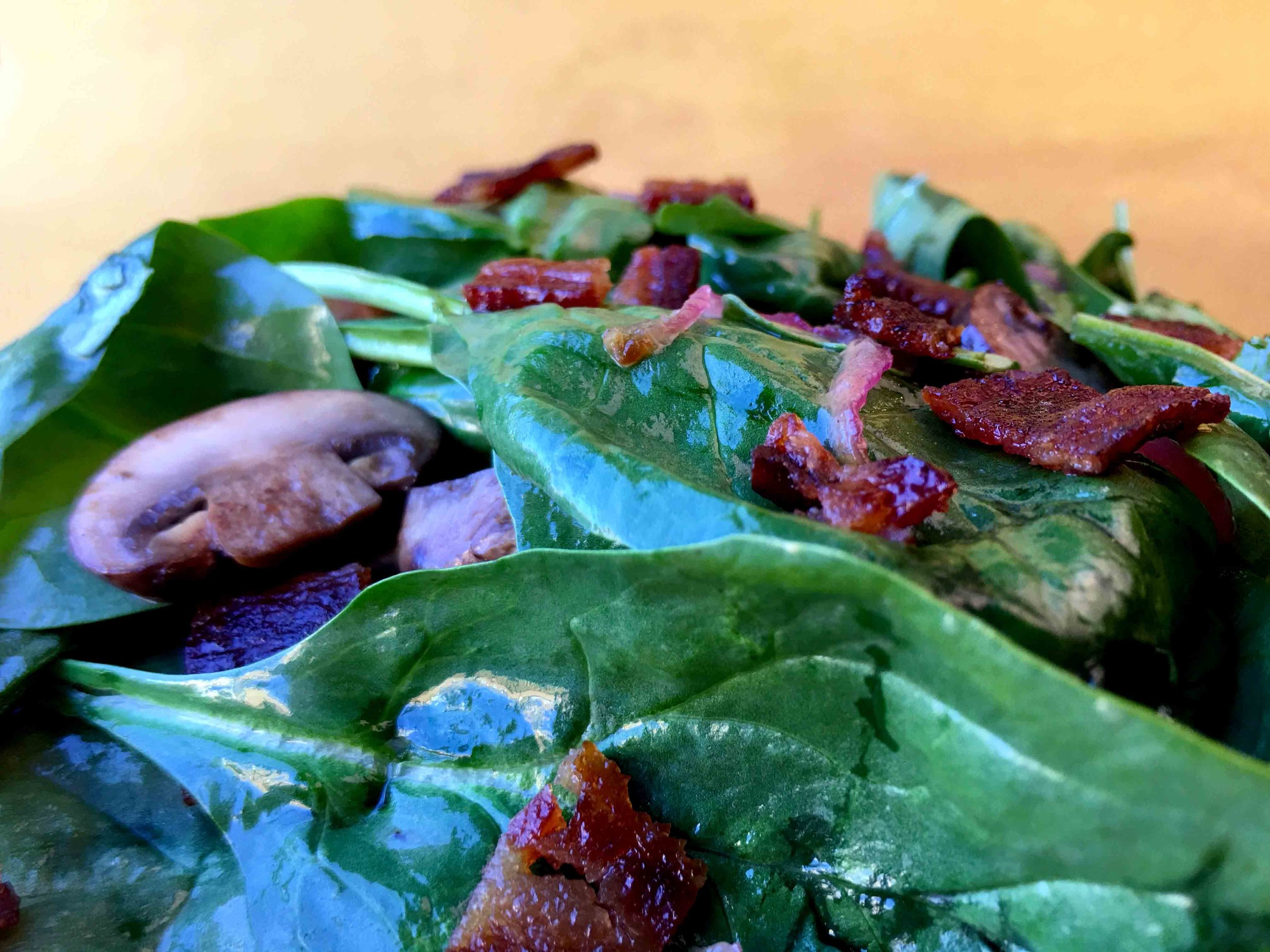 Low Carb Spinach Salad with Warm Candied Bacon Dressing Recipe