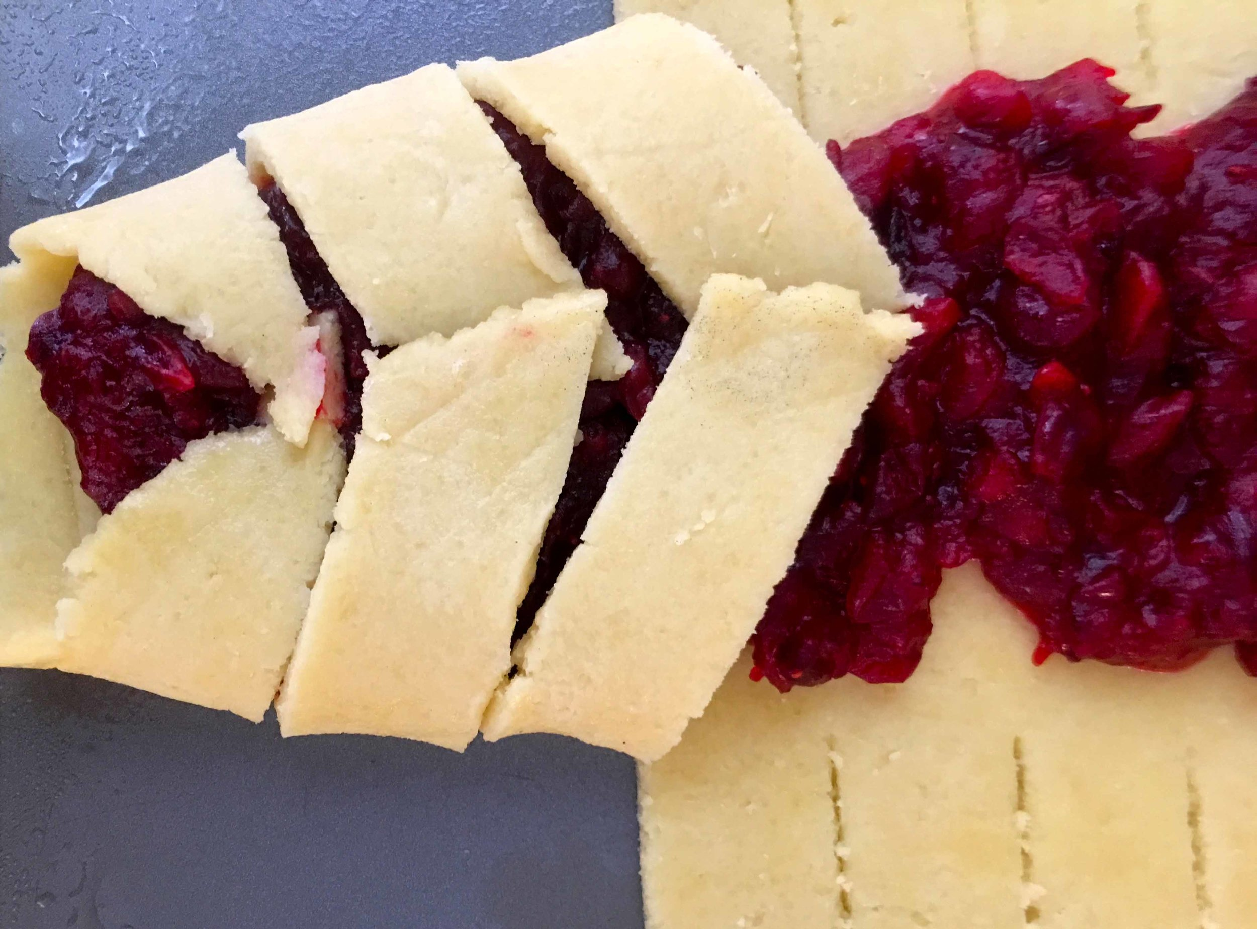 Cut 1 inch thick strips around the outer edges of the pastry and fold them over the filling. Seal the end of the pastry and cut off any overage.