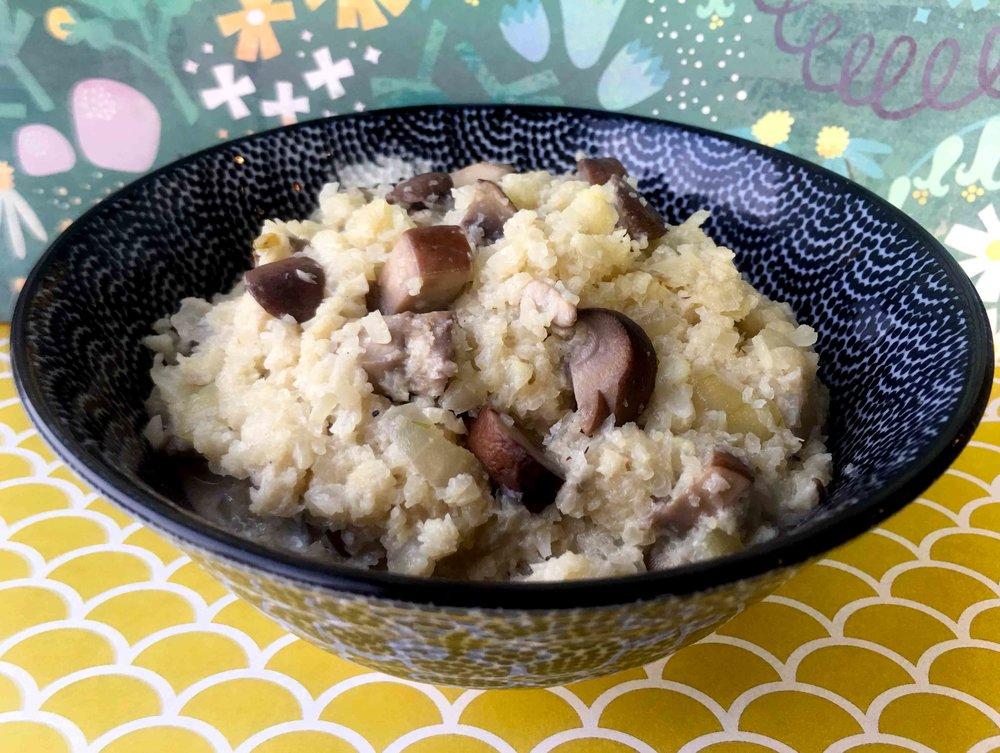 Low Carb Keto Grain Free Cauliflower Risotto with Mushrooms Recipe