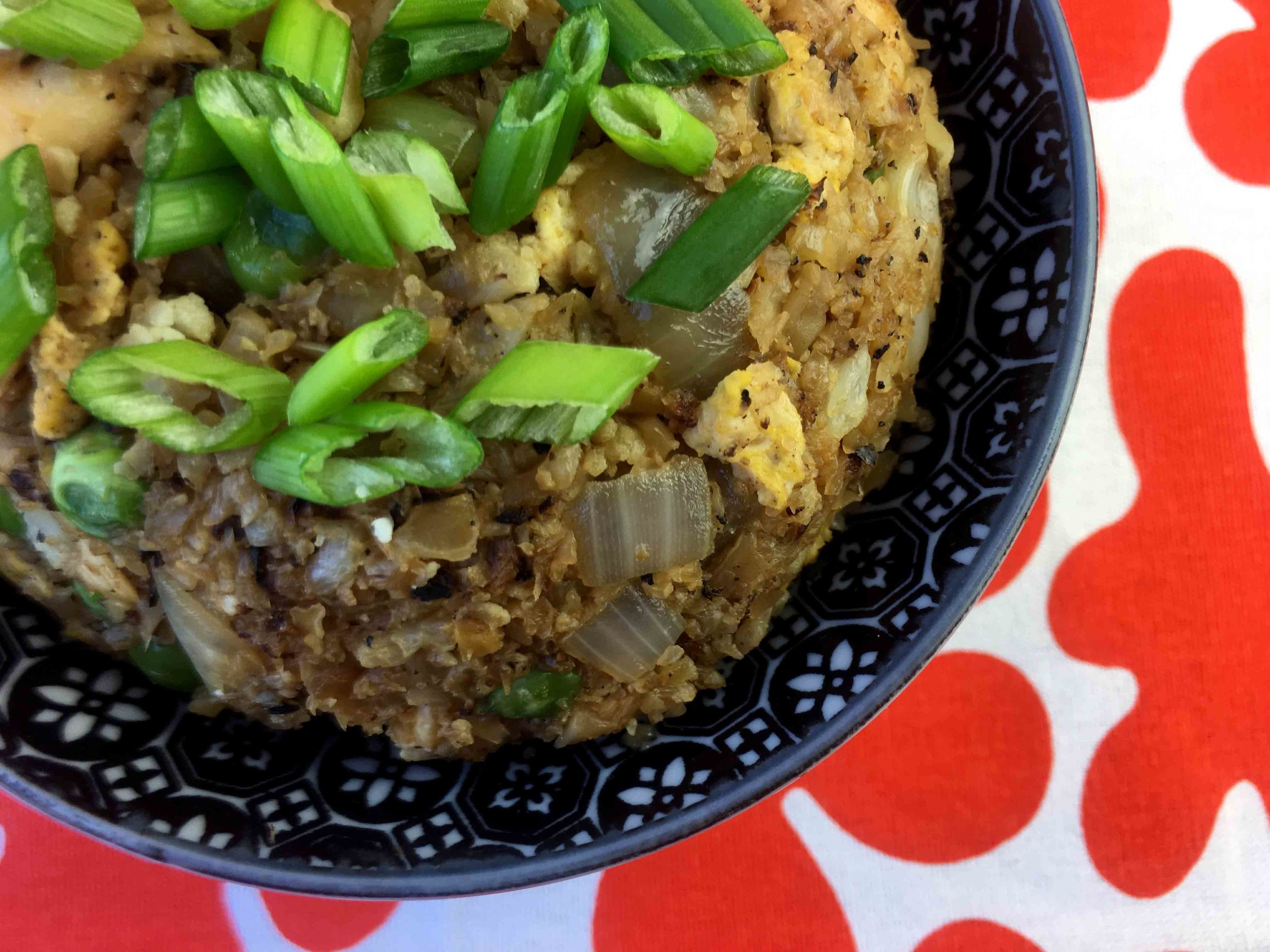 Low Carb Keto Grain Free Chicken Cauliflower Fried Rice Recipe