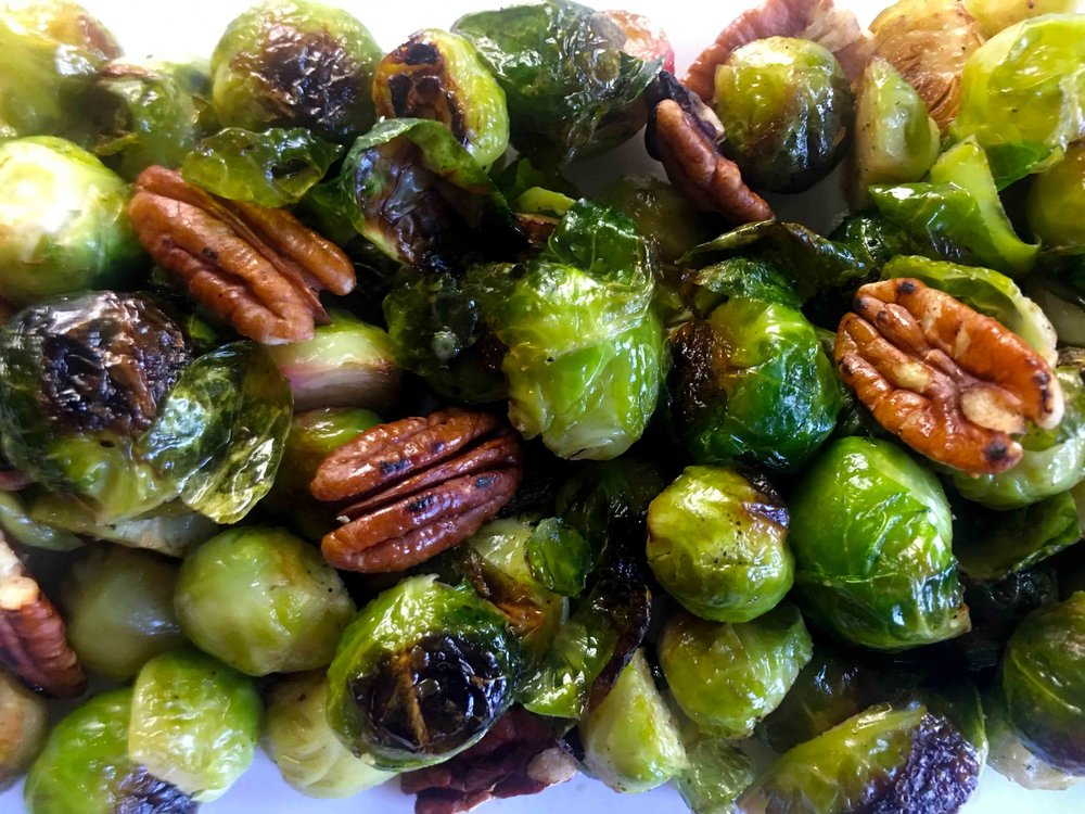 Low Carb Keto Whole30 Roasted Brussel Sprouts with Pecans Recipe