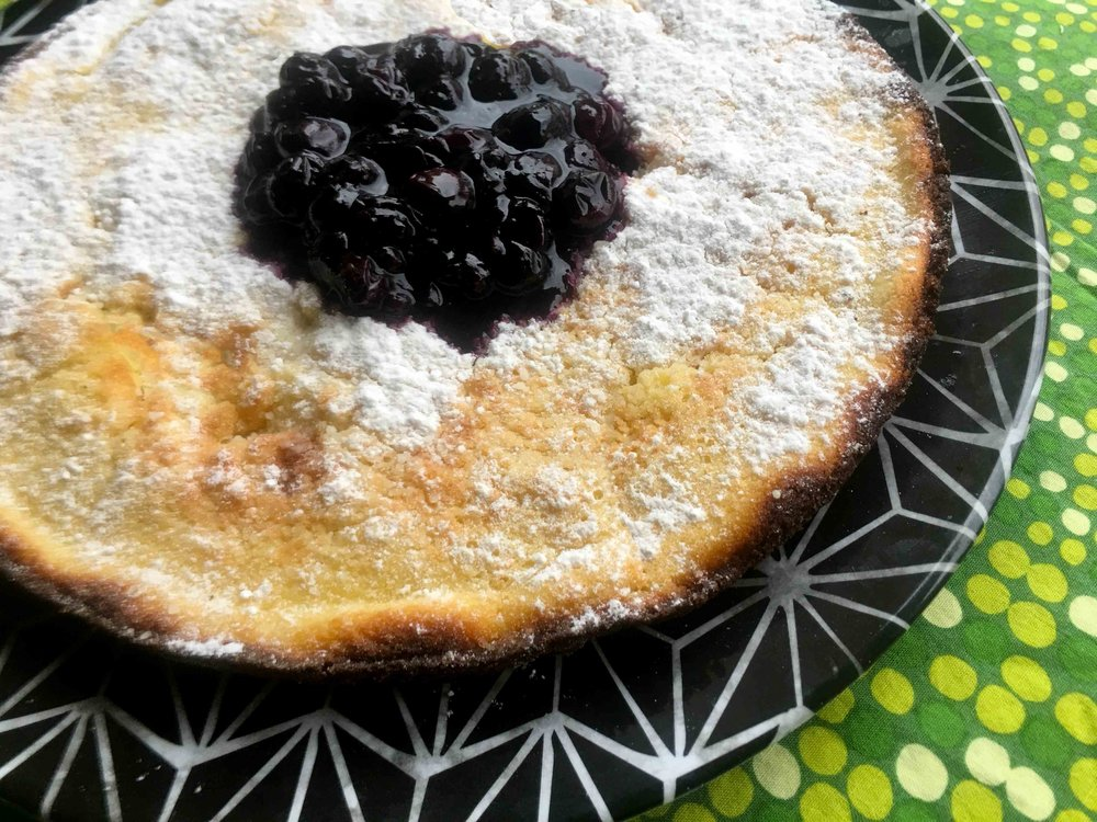 Low Carb Keto Dutch Baby Baked Egg Pancake) with Blueberry Syrup Recipe