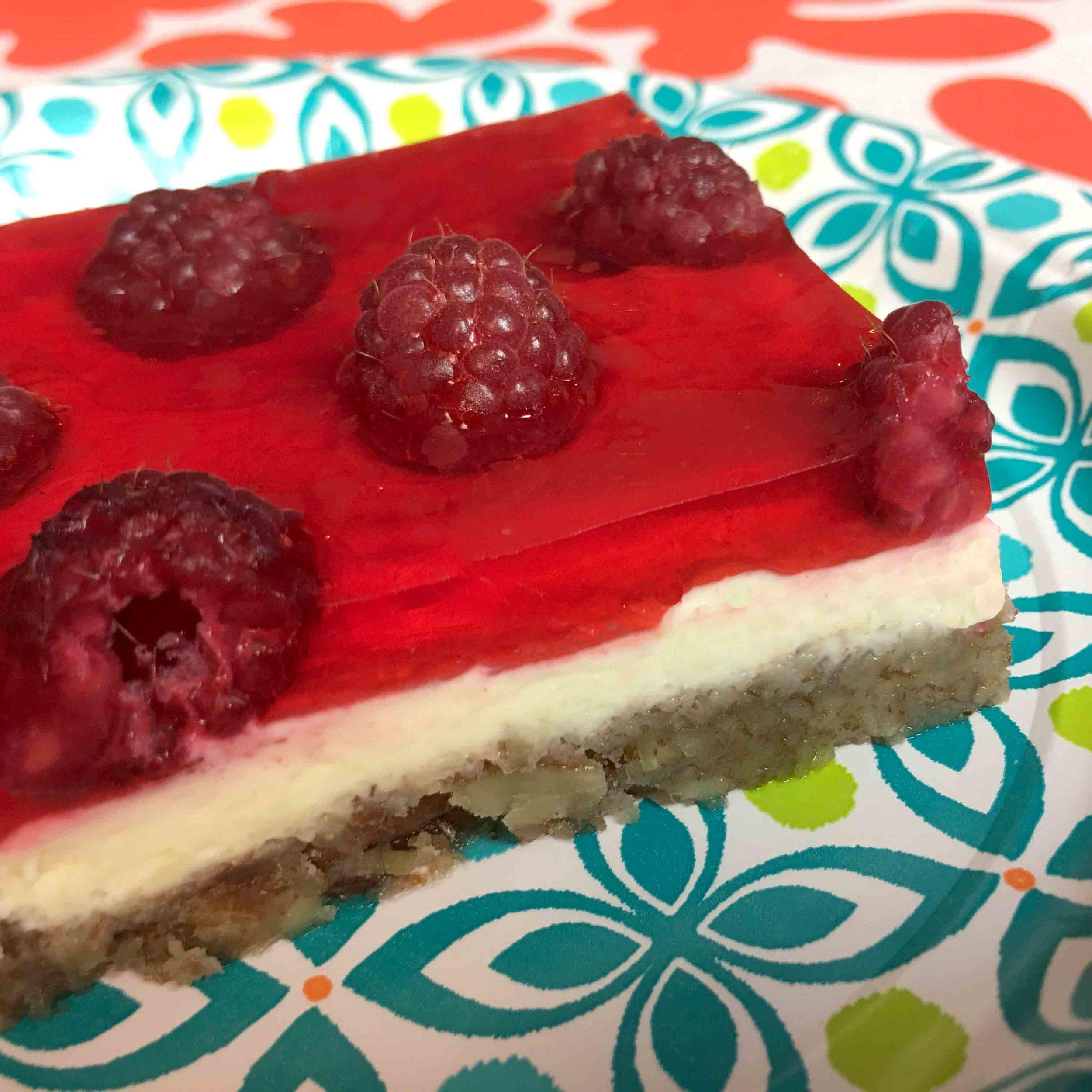 Low Carb Keto Raspberry Jello Cheesecake Bar Recipe