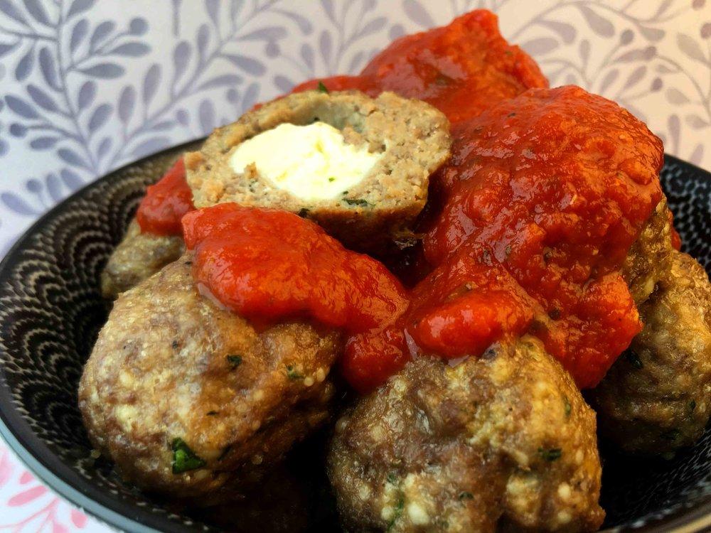Low Carb Keto Mozzarella Filled Meatballs