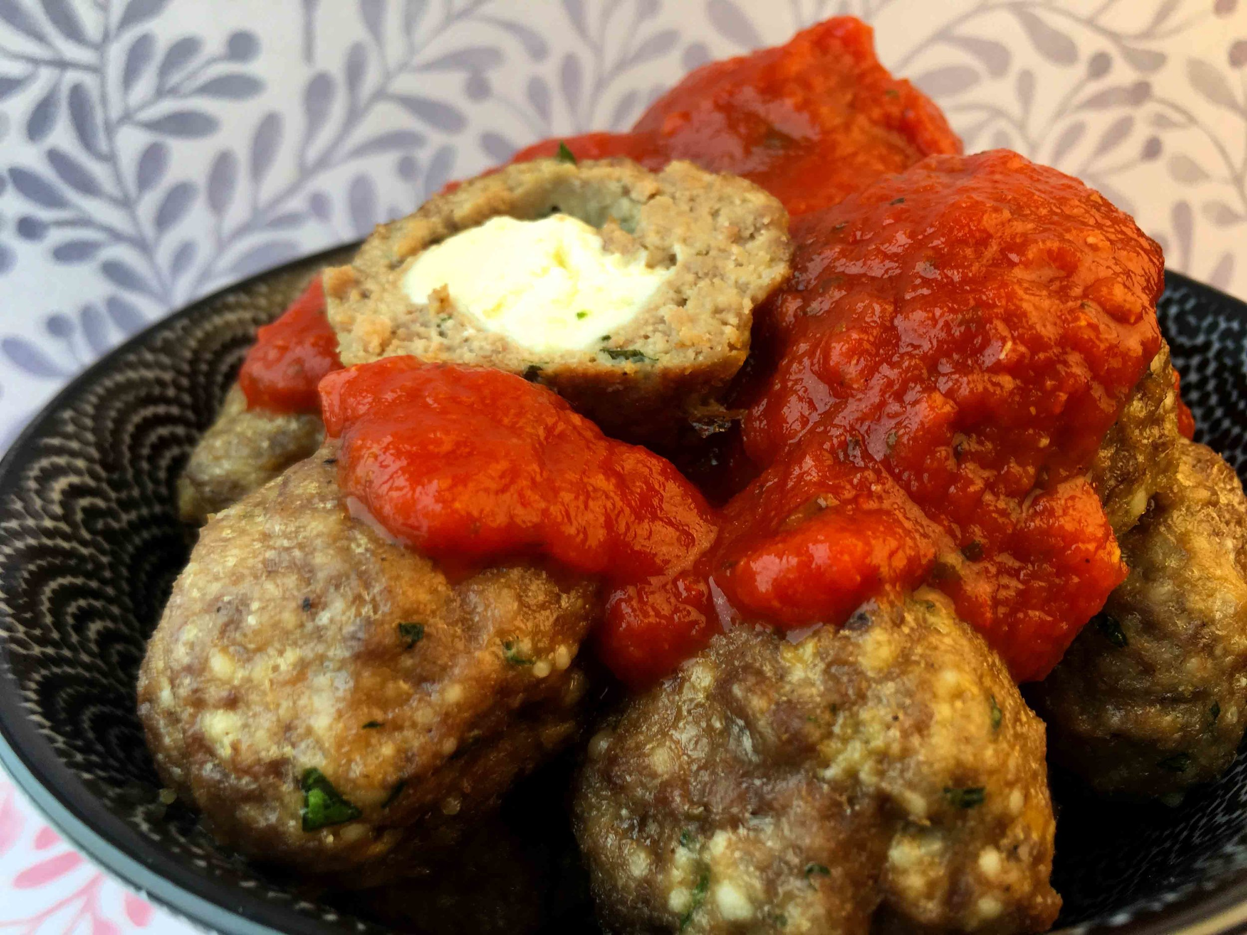 Low Carb Keto Mozzarella Filled Meatballs